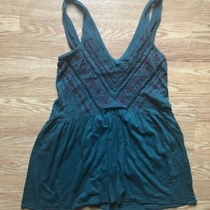 Urban Outfitters Hunter Green Beaded Tank